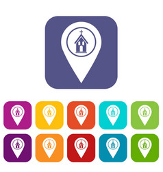 Map pointer with church icons set flat vector