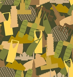 Military camouflage Landmark buildings Attractions vector image