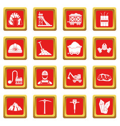 miner icons set red vector image