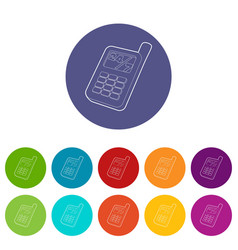 mobile phone icons set color vector image