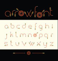modern font archery arrows vector image