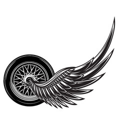 monochrome pattern with wheel and wings vector image