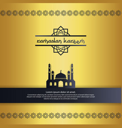 Mosque with gold color element design for ramadan vector