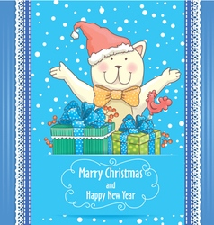 New Year card with cat vector image