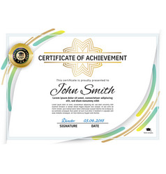 official white certificate with green line design vector image