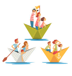 parents and kids in striped t-shirts boating on vector image