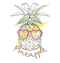 Pineapple with glasses tropical vector