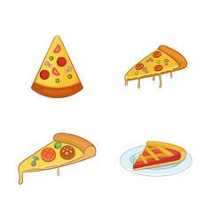 pizza slice icon set cartoon style vector image
