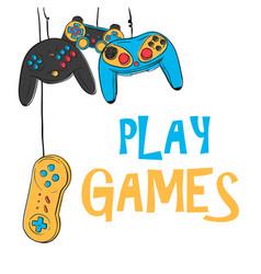 Play games hanging joystick background imag vector