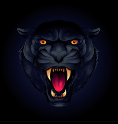 portrait of a tiger head or black panther on a vector image