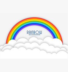rainbow background with white papercut clouds vector image