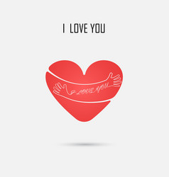 red heart sign and i love you typographical vector image