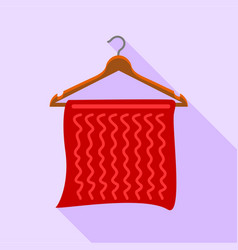 Red towel on coat hanger icon flat style vector