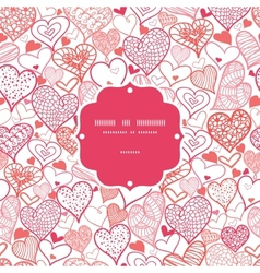 Romantic doodle hearts frame seamless pattern vector image