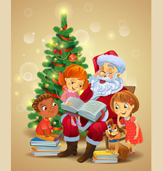 Santa claus reading the book to children vector