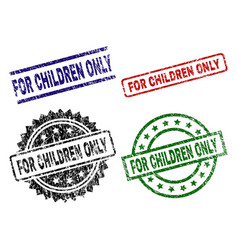 scratched textured for children only stamp seals vector image