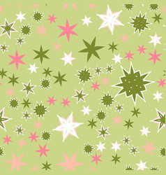 Seamless texture pink stars stylized flowers and vector