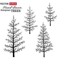 Set hand-drawn evergreen trees vector