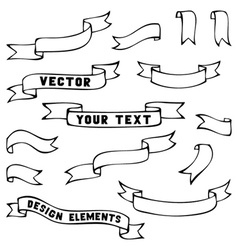 Set of black vintage ribbons vector image