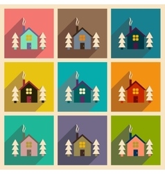 Set of flat web icons with long shadow house vector
