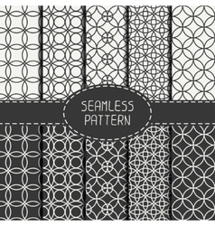 Set of monochrome seamless pattern with circle vector image