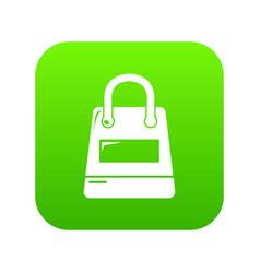 shopping bag icon green vector image