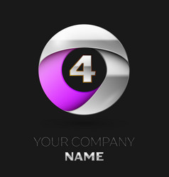 silver number four logo in silver-purple circle vector image