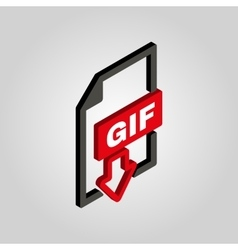 The gif icon3d isometric file format symbol flat vector