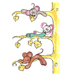 Three mice are on the cheese tree vector