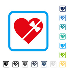 Tied love heart framed icon vector