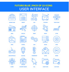 User interface icons - futuro blue 25 icon pack vector