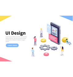 Ux or ui design concept people standing around vector