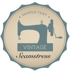 Vintage emblem of retro sewing machine vector
