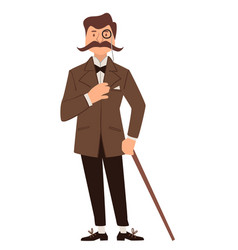 Vintage gentleman with walking stick and glasses vector
