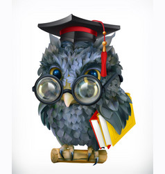 wise owl cartoon character mascot 3d icon vector image