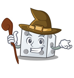 Witch dice character cartoon style vector
