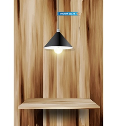 Wood shelf and lamp vector image