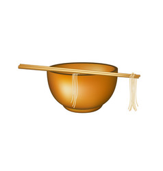 wooden chopsticks holding noodles lying on bowl vector image