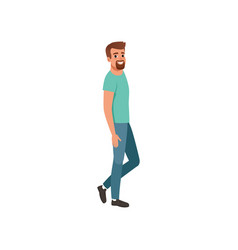 young bearded man standing sideways cartoon vector image