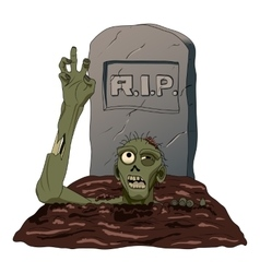 Zombie crawls from the grave isolated background vector image