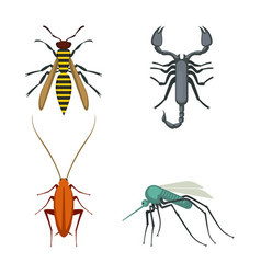 collection of icons of colorful bugs on vector image