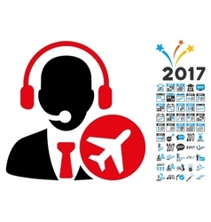 Dispatcher icon with 2017 year bonus symbols vector