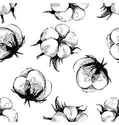 hand drawn seamless pattern with cotton plant vector image vector image