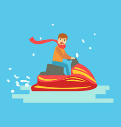 man riding on snowmobile in winter holidays vector image
