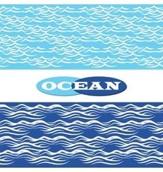 Ocean waves seamless borders vector image vector image