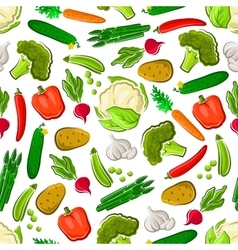 Seamless veggies pattern for farming design vector image vector image