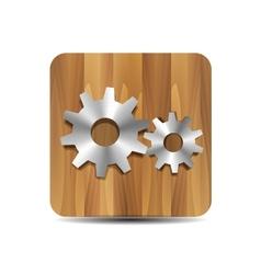 Settings administrator cogwheel on wood vector image
