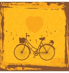 Abstract grunge frame bicycle silhouette on vector image