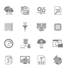 Database analytics black icons set vector