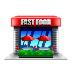 fast food restaurant isolated on white vector image